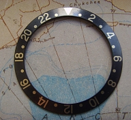 ROLEX 1970s 1980s GMT 1675 16750 BLACK FADED THICK FONT BEZEL INSERT